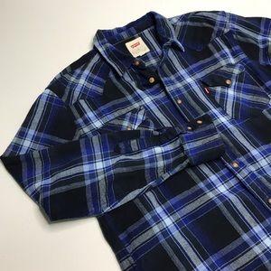 Levi's blue plaid flannel shirt sz XL